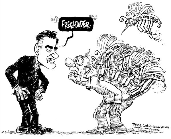 Daryl Cagle - MSNBC.com - Romney Mosquitoes - English - Mitt Romney,mosquito,mosquitoes,taxes,Barack Obama,redistribute income,youtube,campaign 2012,presidential,president