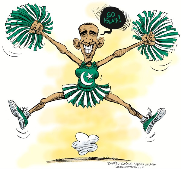 Daryl Cagle - MSNBC.com - Go Islam COLOR - English - Barack ObamIslam,Pakistan flag,star and crescent,Go Islam,muslim,Arab,Libya