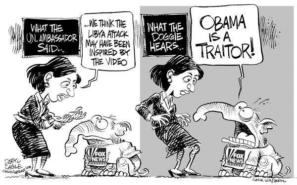 Daryl Cagle - CagleCartoons.com - Libya and Fox News - English - Fox News,Susan Rice,United Nations,Libya,presidential campaign,Romney,Obama,elephant,republican,video,muhammad,doggie