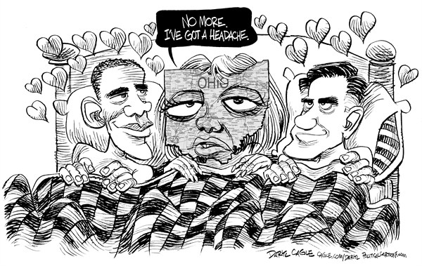 Daryl Cagle - CagleCartoons.com - Swinger State - English - Mitt Romney, Barack Obama,President,campaign 2012,Ohio,sex,swinger,bed,headache,map