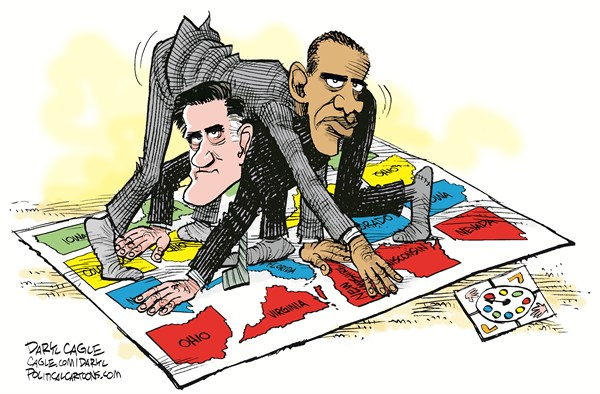 Daryl Cagle - CagleCartoons.com - Swing State Twister COLOR - English - swing state,twister,Milton Bradley,Mitt Romney,Barack Obama,game,Ohio,Virginia,New Hampshire,Wisconsin,Nevada,Florida,Colorado,Iowa
