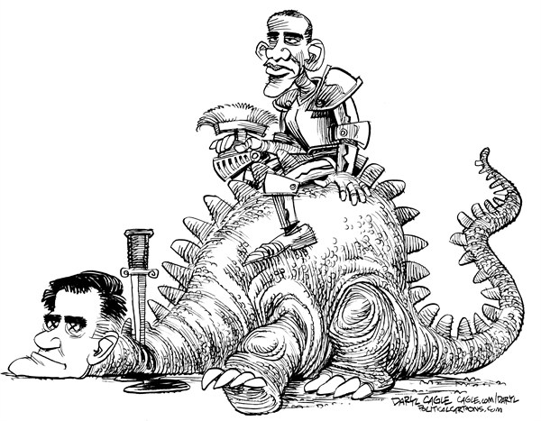 Daryl Cagle - CagleCartoons.com - Obama Wins - English - Mitt Romney, Barack Obama,President,campaign 2012,dragon,knight,armor,armour
