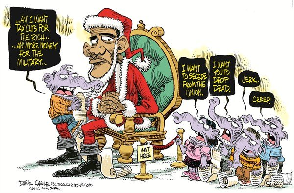 Daryl Cagle - CagleCartoons.com - Santa Obama and the GOP COLOR - English - President Barack Obama,Santa Claus,Christmas,xmas,elephant,GOP,Republican,list,taxes,military