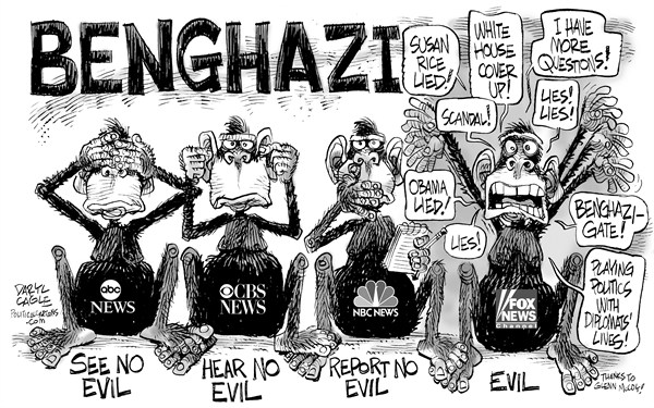 Daryl Cagle - CagleCartoons.com - Benghazi Monkeys - English - Benghazi,Libya,monkeys,see no evil,hear,report,speak,Benghazigate,Susan Rice,Fox News