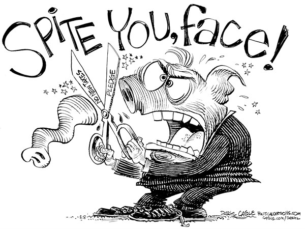 Daryl Cagle - CagleCartoons.com - To Spite Your Face - English - elephant,GOP,Republican,noce,trunk,taxes,tax,spending,fiscal cliff,budget,Grover Norquist,pledge