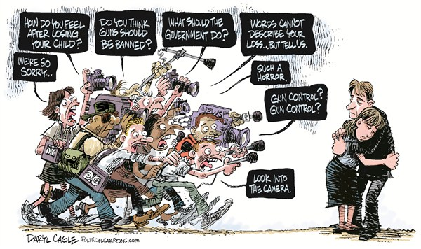 Daryl Cagle - CagleCartoons.com - Media and the Connecticut School Shooting COLOR - English - guns,media,news,newspapers,television,victims,Sandy Hook Elementary School,school shooting,children,connecticut shooting, Education, gun debate 2012, school violence