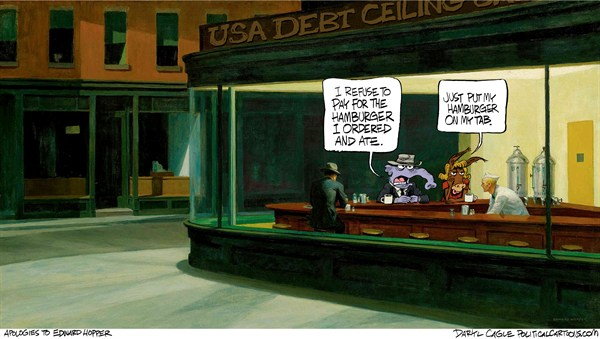 Hopper and the Debt Ceiling Nighthawks © Daryl Cagle,CagleCartoons.com,Edward Hopper,Nighthawks,debt ceiling,cafe,elephant,donkey,Republican,Democrat,Debt Ceiling, GOP