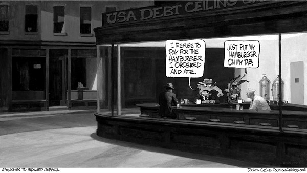 Daryl Cagle - CagleCartoons.com - Garyscale Hopper and the Debt Ceiling Nighthawks - English - Edward Hopper, Nighthawks, debt ceiling, cafe, elephant, donkey, Republican, Democrat, Debt Ceiling, GOP