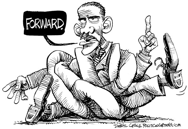 Daryl Cagle - CagleCartoons.com - Obama Forward Knot - English - President Barack Hussein Obama,inauguration,knot,forward