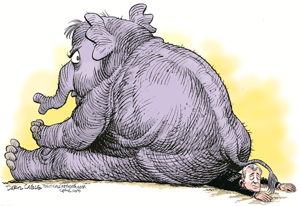 Hagel Nomination Stalled © Daryl Cagle,CagleCartoons.com,military,navy,air force,marines,Republican,elephant,GOP,Defense Secretary,Defence,ass,butt,Senator,nomination,filibuster, chuck hagel,army, Chuck Hagel