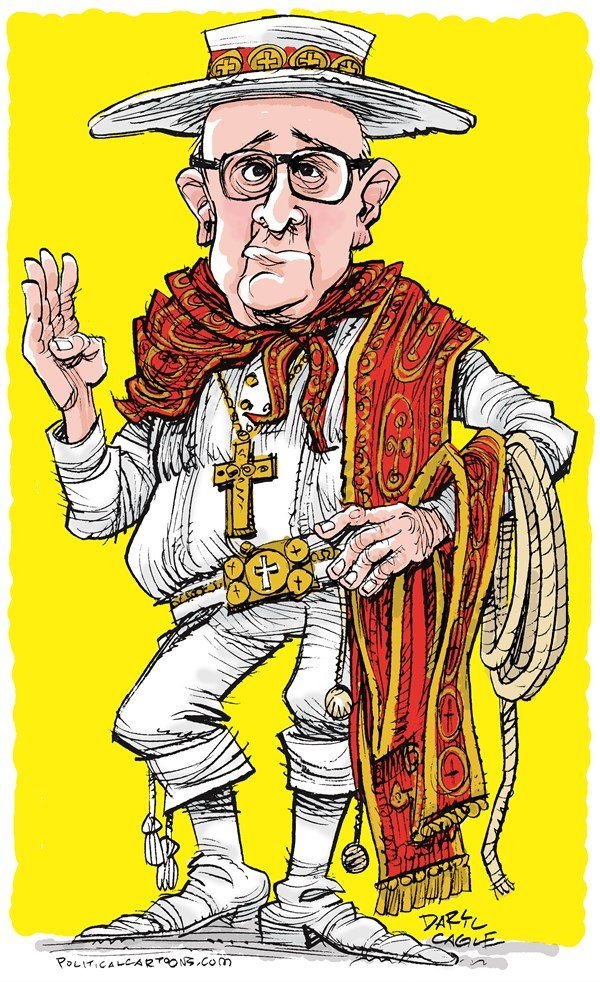 Daryl Cagle - CagleCartoons.com - Pope Francis as a Gaucho COLOR - English - Pope Francis,Saint Francis,Argentina,Gaucho,Cardinal Jorge Mario Bergoglio,Rome,Catholic Church,cowboy