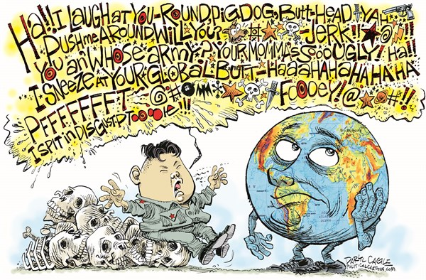 Daryl Cagle - CagleCartoons.com - Kim Jong Un and the World COLOR - English - Kim Jong Un, nuclear weapons, bomb, cursing, swearing, world, globe, map, skulls, skeletons, North Korea,North Korea