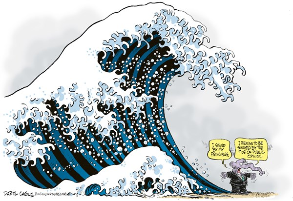 GOP and the Tide of Public Opinion © Daryl Cagle,CagleCartoons.com,Republican,painting,wave,tide of public opinion,Great wave off Kanagawa,Katsushika Hokusai,elephant,gay marriage 2013, GOP, prop 8