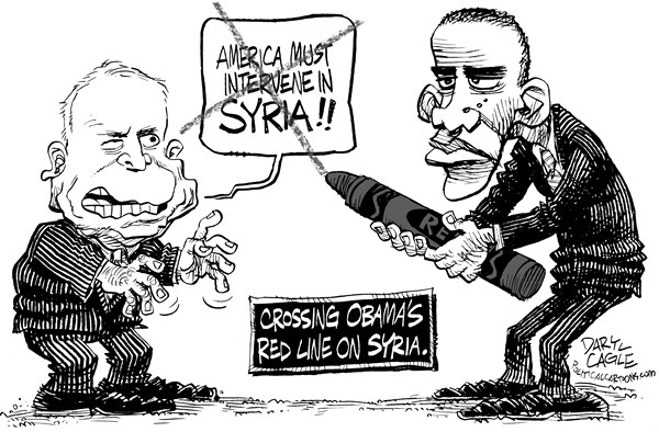 Daryl Cagle - CagleCartoons.com -  - English - John McCain,senate,President Barack Obama,Syria,red crayon,red line,chemical weapons