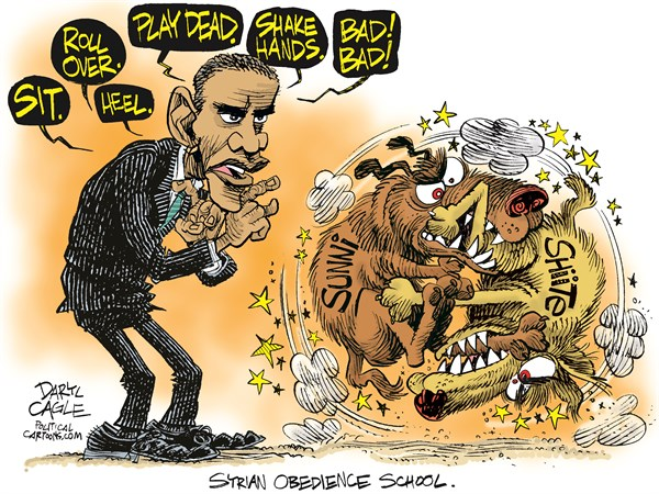 Daryl Cagle - CagleCartoons.com - Syrian Obedience School COLOR - English - President Barack Obama,dogs,syria,syrian,obedience school,sit,lay down,bed,roll over,shake hands,bad bad,fight,war,civil,Bashar Assad