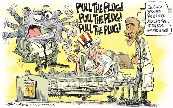 Obamacare   Pull the Plug © Daryl Cagle,CagleCartoons.com,Barack Obama,Uncle Sam,Healthcare,hospital,elephant,Republican,Pull The Plug,postpone,employer mandate,Obamacare,Obamacare,GOP, Health, Obamacare