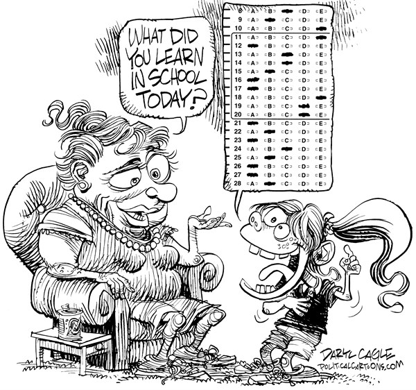 Daryl Cagle - CagleCartoons.com - No Child Left Behind Testing - English - Standardized testing,school,grandmother,grandma,girl,NCLF,No Child Left Behind,Congress,Education