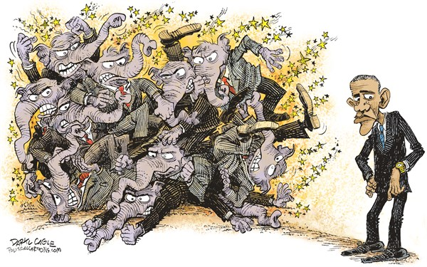 Daryl Cagle - CagleCartoons.com - GOP Infighting COLOR - English - elephants, GOP, republicans, Barack Obama, watch, fighting, congress, president
