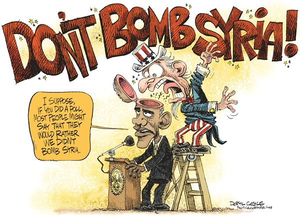 Daryl Cagle - CagleCartoons.com - Don't Bomb Syria COLOR - English - Dont Bomb Syria, Bashar Assad, chemical weapons, strike, military, missile, uncle same, barack obama, congress, poll, head, skull, yell