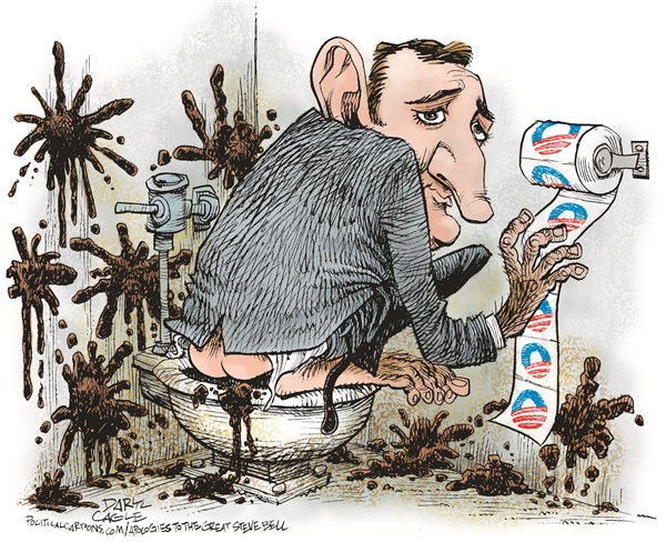 Senator Ted Cruz   Obamacare and Monkey Poop © Daryl Cagle,CagleCartoons.com,Steve Bell, Ted Crus, filibuster, monkey, George W. Bush, Barack Obama, poop, throw poop, feces, bathroom, toilet paper, Obamacare