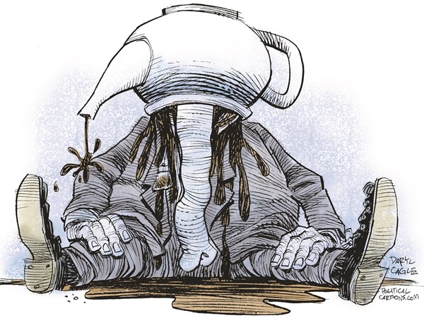 Daryl Cagle - CagleCartoons.com - GOP Tea Head COLOR - English - GOP.Republican,elephant,tea party,tea pot,spill