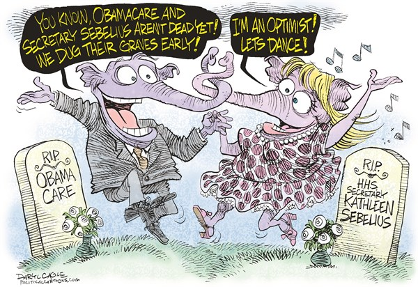Daryl Cagle - CagleCartoons.com - GOP Grave Dance COLOR - English - elephants,GOP,republican,Obamacare,Kathleen Sebelius,Kansas Governor,Health and Human Services,secretary,cabinet,congress,grave