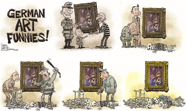 German Art Funnies © Daryl Cagle,CagleCartoons.com,Germany, Nazi, art, masterpieces, treasure, Marc Chagall, history, police