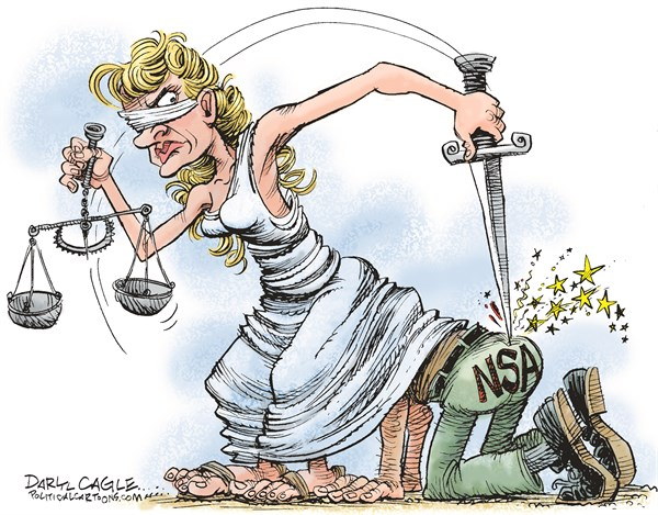 Daryl Cagle - CagleCartoons.com - Court Ruling on the NSA COLOR - English - National Security Agency, NSA, Justice, statue, court decision, judge, judicial, snooping, spy, surveillance, Edward Snowden