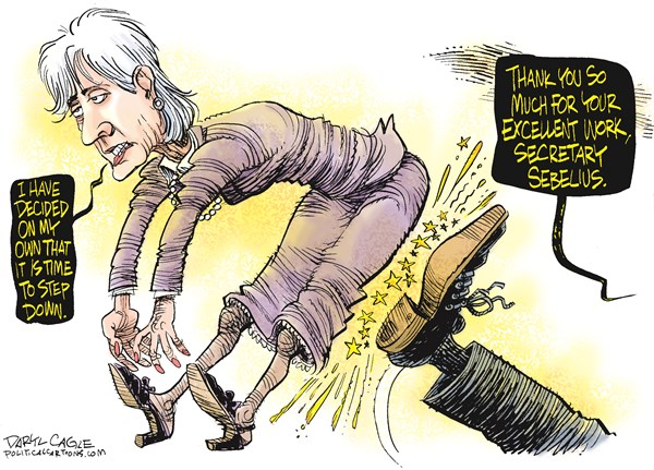 Daryl Cagle - CagleCartoons.com - Secretary Sebelius Resigns COLOR - English - Kathleen Sebelius, Kansas Governor, HHS, Health and Human Services, Obamacare, ACA, Affordable Care Act, Health, healthcare, resign, resignation