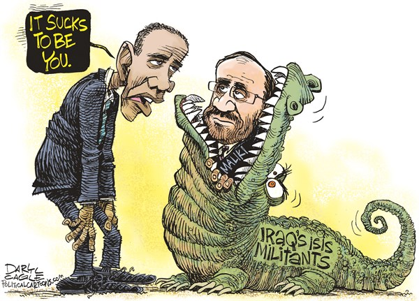 Iraq   It Sucks to be You © Daryl Cagle,CagleCartoons.com,Nouri Al Maliki, Iraq, ISIL, ISIS, Barack Obama, Alligator, crocodile, Militants, war, civil war, sects, sectarian, strife, president, foreign, Califate, sunni, shiite, Iran