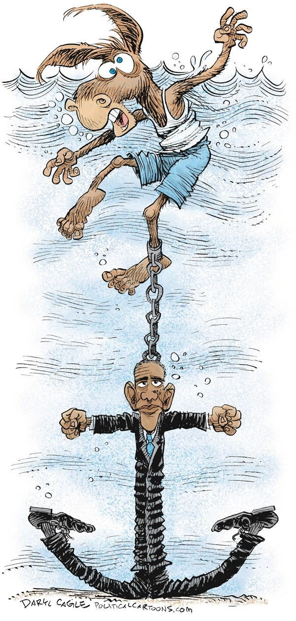 Obama Sinking the Democrats © Daryl Cagle,CagleCartoons.com,Barack Obama, anchor, drowning, midterm elections, congress, senate, house, races, donkey, swimming, sink, Democrats