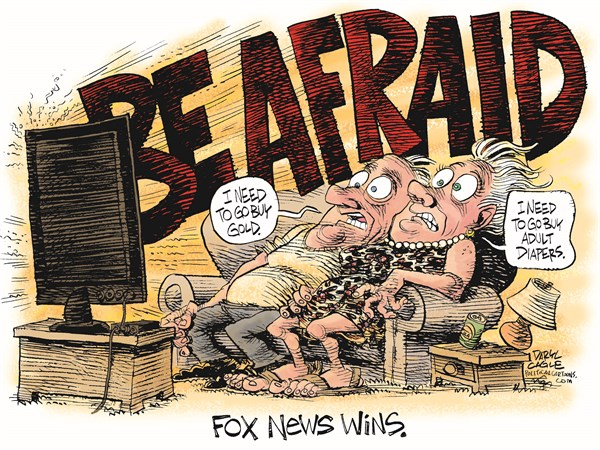 BE AFRAID © Daryl Cagle,CagleCartoons.com,Fox News.Ebola, Isis, Isil, I.S., Islamic State, Daesh, Adult Diapers, Gold, Television
