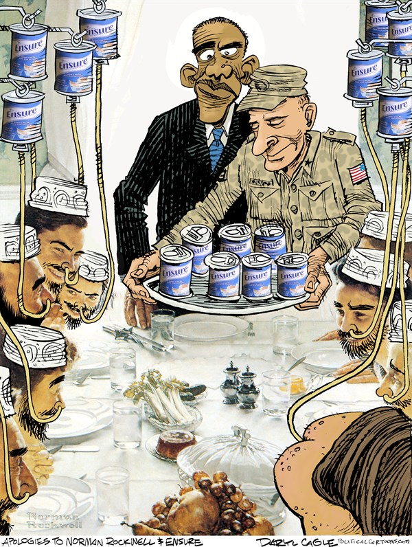 Daryl Cagle | Dinnertime at Guantanamo Revised with Rectal Feeding / media.cagle.com
