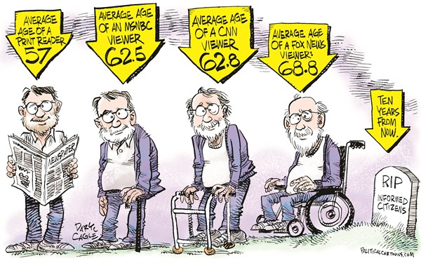 Elderly News Media Audience © Daryl Cagle,CagleCartoons.com,News, media, CNN, Fox News, msnbc.msnbc.com, television, cable, tv, audience, age, elderly,readers,newspapers