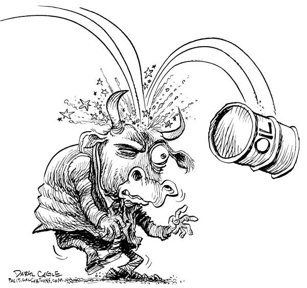 Dropping Oil Prices Impact Stock Market © Daryl Cagle,CagleCartoons.com,head,bovine,saudi arabia,venezuela,russia,iran,iraq,oil,prices,energy,bull,wall street,stock market,dow,standard and Poors,Nasdaq,New York Stock Exchange,Economy