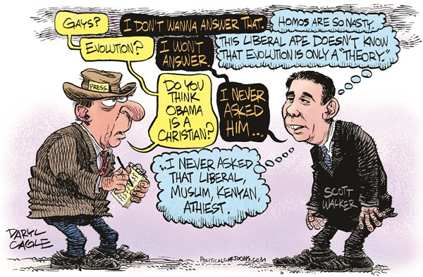 Scott Walker Interview © Daryl Cagle,CagleCartoons.com,Scott Walker, Wisconsin, Governor, presidential, campaign, president, media, press, newspaper, interview, evolution, theory, gay, homosexual, Barack Obama, Christian, religion, conservative, Republican