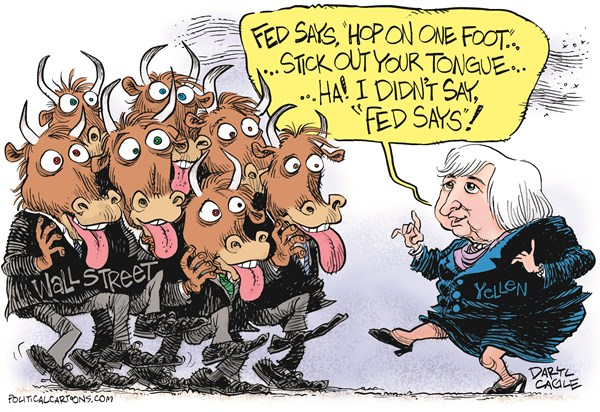 Janet Yellen   the Fed and Wall Street © Daryl Cagle,CagleCartoons.com,Wall Street, finance, economy, interest rates, Federal Reserve Bank, the Fed, Janet Yellen, money, bull, bulls, Simon Says