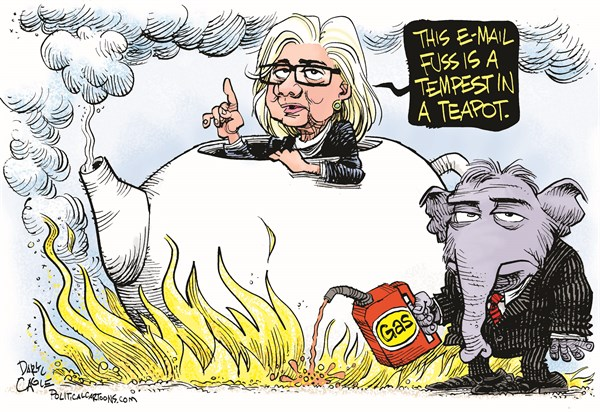 Hillary E mail Scandal Tempest in a Teapot © Daryl Cagle,CagleCartoons.com,Hillary Clinton,tea party,tea,tea pot,elephant,republican,democrat,presidential candidate,email,e-mail,scandal,gasoline