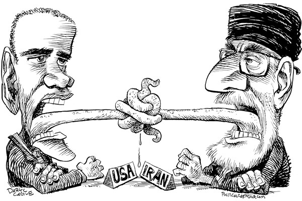 Iran Talks Tongues Tied © Daryl Cagle,CagleCartoons.com,Barack Obama,Iran,Supreme Leader,Ayatollah,nuclear,weapons,talks,negotiations,John Kerry,USA,tongues