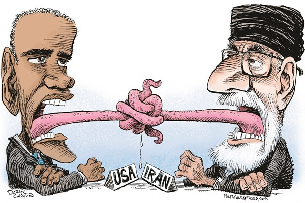 Iran Talks Tongues Tied © Daryl Cagle,CagleCartoons.com,Barack Obama, Iran, Supreme Leader, Ayatollah, nuclear, weapons, talks, negotiations, John Kerry, USA, tongues