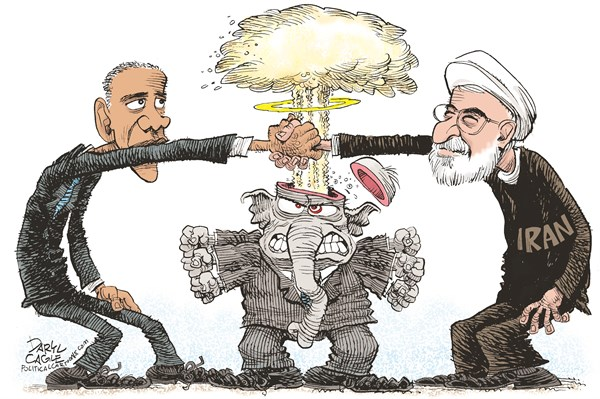 Iran Deal and Republicans © Daryl Cagle,CagleCartoons.com,Iran,President,Hassan Rouhani,Barack Obama,nuclear,negotiations,Republicans,elephant,weapons,bomb
