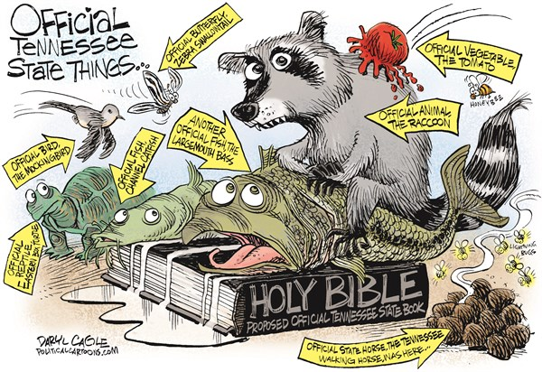 The Bible and Other Official Tennessee Stuff © Daryl Cagle,CagleCartoons.com,tennessee, official, state, walking horse, mockingbird, bird, channel catfish, western box turtle, largemouth bass, lightening bugs, fireflies, tomato, honeybee, bee, butterfly, zebra swallowtail, raccoon, holy bible,