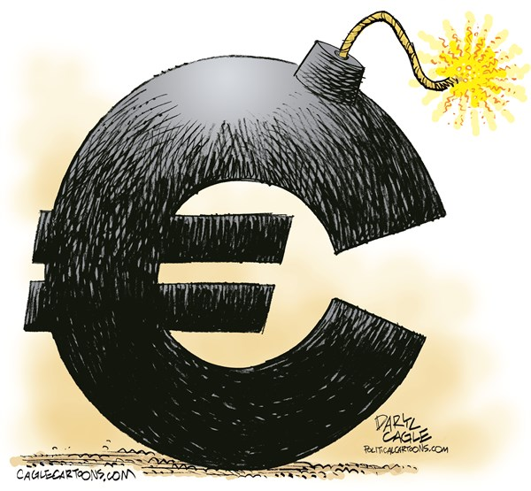 Euro Bomb Repost © Daryl Cagle,CagleCartoons.com,Euro,european,bomb,currency,greece,crisis,finance,currency,markets,germany,Alexis Tsipras