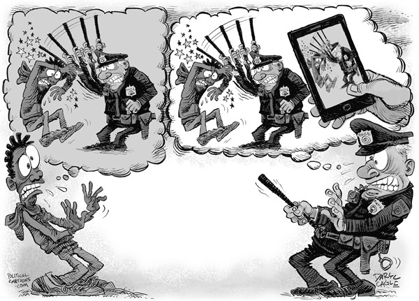 Police Beatings and Phone Videos GRAY © Daryl Cagle,CagleCartoons.com,police,brutality,cell phone,video,violence,race,florida,ferguson,massachusetts,baltimore,crime,hoodie,baton,beating