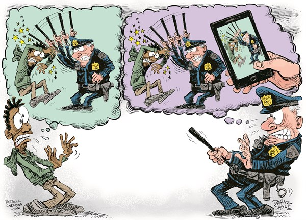 Police Beatings and Phone Videos © Daryl Cagle,CagleCartoons.com,police,brutality,cell phone,video,violence,race,florida,ferguson,massachusetts,baltimore,crime,hoodie,baton,beating