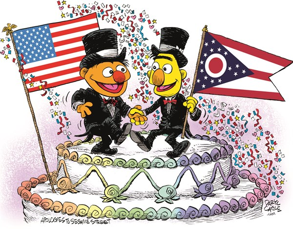 Ohio Marriage Equality Celebration © Daryl Cagle,CagleCartoons.com,Ohio,Marriage Equality,SCOTUS,Supreme Court,law,wedding,homosexual,LGBT,Bert,Ernie,Muppets,Sesame Street,wedding cake,flags,Gay Marriage