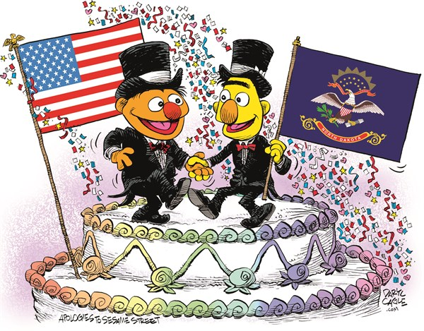 North Dakota Marriage Equality Celebration © Daryl Cagle,CagleCartoons.com,North Dakota,Marriage Equality,SCOTUS,Supreme Court,law,wedding,homosexual,LGBT,Bert,Ernie,Muppets,Sesame Street,wedding cake,flags,Gay Marriage