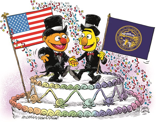 Nebraska Marriage Equality Celebration © Daryl Cagle,CagleCartoons.com,Nebraska,Marriage Equality,SCOTUS,Supreme Court,law,wedding,homosexual,LGBT,Bert,Ernie,Muppets,Sesame Street,wedding cake,flags,Gay Marriage