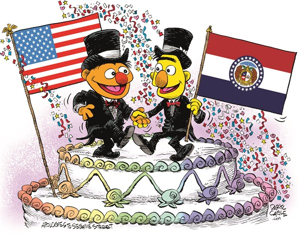 Missouri Marriage Equality Celebration © Daryl Cagle,CagleCartoons.com,Missouri,Marriage Equality,SCOTUS,Supreme Court,law,wedding,homosexual,LGBT,Bert,Ernie,Muppets,Sesame Street,wedding cake,flags,Gay Marriage