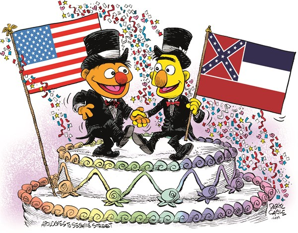 Mississippi Marriage Equality Celebration © Daryl Cagle,CagleCartoons.com,Mississippi,Marriage Equality,SCOTUS,Supreme Court,law,wedding,homosexual,LGBT,Bert,Ernie,Muppets,Sesame Street,wedding cake,flags,Gay Marriage